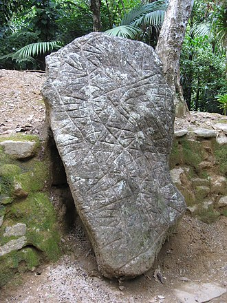 Ciudad Perdida - A boulder with carved markings, believed to be a map of the stars.