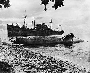 Yamazuki Maru and sub beached at Tassafaronga Point c1943.jpg