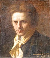 head and shoulder drawing of young man, clean shaven with a bouffant mane of hair