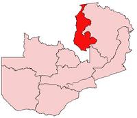 Map of Zambia showing the Luapula Province