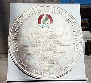 Leonard P. Zakim Bunker Hill Memorial Bridge - Image of the dedication plaque for the bridge