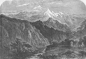 """Hungarung Pass in the Himalayas"" (nowadays called Shipki La, where the Sutlej River enters India from Tibet), from the Illustrated London News, 1856.jpg"