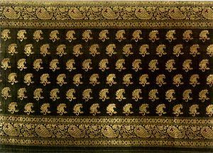 Zari - 'Banarasi sari' from Varanasi (Banaras), silk and gold-wrapped silk yarn with supplementary weft brocade (zari)