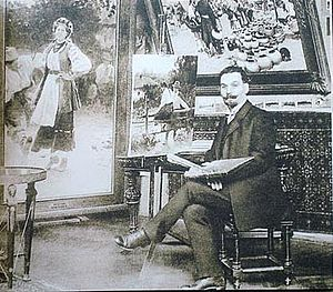 Mykola Pymonenko - Pymonenko in his studio
