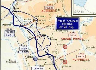 the battle of the ardennes 1914 was the second of the battles of the frontiers after the advancing german left wing defeated french forces in lorraine