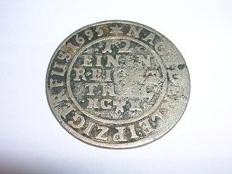 Rudolph Augustus, Duke of Braunschweig-Wolfenbüttel - Reverse of a one-twelfth thaler coin of Rudolph Augustus
