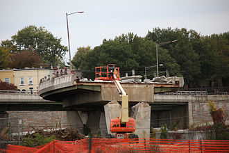11th Street Bridges - Demolition and removal of a portion of the connecting span between the north span of the 11th Street Bridge and Interstate 695 (Southeast Freeway) on October 10, 2009