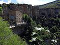 133 Monestir i cinglera de Sant Miquel del Fai des de l'escala que baixa a la cova.JPG