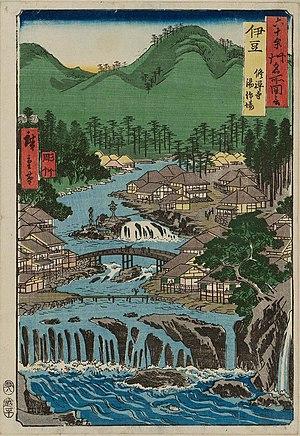 "Izu Province - Hiroshige ukiyo-e ""Izu"" in ""The Famous Scenes of the Sixty States"" (六十余州名所図会), depicting Shuzen-ji"