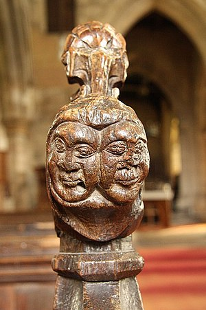 Croxton Abbey - 15th century sisters. Detail of one of the poppy head bench ends in St. Botolph and St. John the Baptist's church showing the faces of two women, thought to be sisters from Waltham who were generous benefactors of Croxton Abbey.