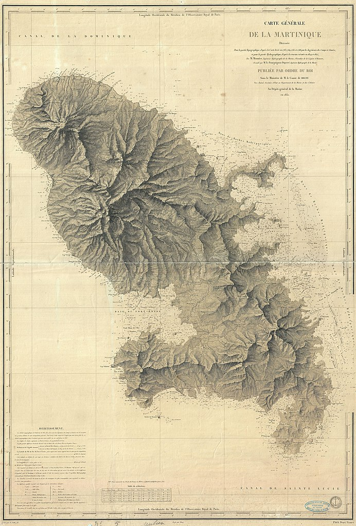 Sea Charts: 1831 Depot de la Marine Nautical Chart or Map of Martinique ,Chart