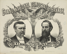 A campaign poster with two men's faces on it