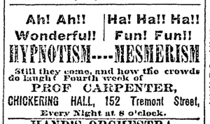 Chickering Hall, Boston (1883) - Image: 1890 Chickering Hall no 152 Tremont St Boston Globe Oct 19