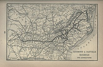 Richmond and Danville Railroad - 1891 map of Richmond and Danville Railroad and connections