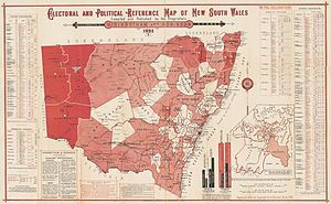 Electoral districts of New South Wales - 1892 map showing electoral districts in New South Wales