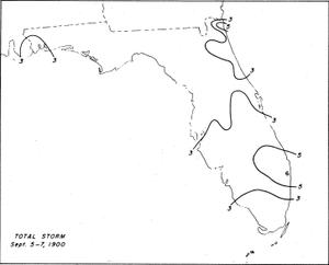 A map of Florida with contour lines to indicate rainfall amounts