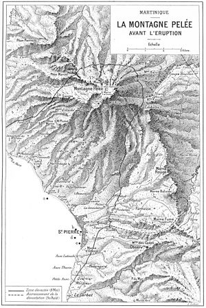 Mount Pelée - A map of the affected area around Mount Pelée printed in 1904.