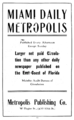 1921 Daily Metropolis newspaper advert Flagler Street in Miami Florida.png