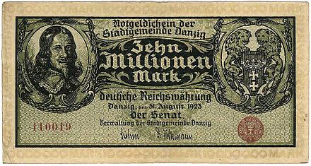 ダンジグ自由都市の10,000,000マークの紙幣(1923年)
