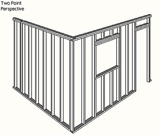 Walls In 2 Point Perspective Converging Toward Two Vanishing Points All Vertical Elements Are Parallel Model From 3D Warehouse Rendered SketchUp