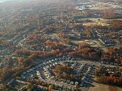 Old Mill Blvd. and subdivisions seen from the air, 2007