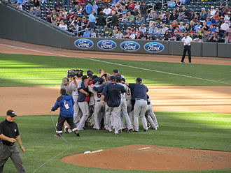 2013 Cleveland Indians season - The Indians celebrate after clinching a wild card slot