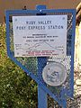2014-09-21 14 59 21 Ruby Valley Pony Express Station historical marker at the Northeastern Nevada Museum in the main city park of Elko, Nevada.JPG