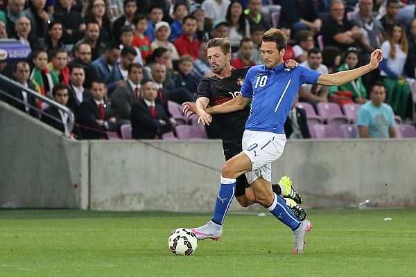 Silva contesting possession of the ball with Italy's Franco Vazquez in a June 2015 friendly 20150616 - Portugal - Italie - Geneve - Adrien Silva et Franco Vazquez.jpg
