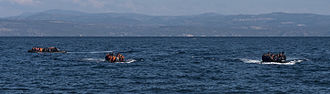 Inflatable boat - Inflatable boats have been used by refugees to cross the Aegean sea from Turkey to Greece.