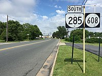 2016-06-03 10 03 28 View south along Virginia State Route 285 and Virginia State Secondary Route 608 (Tinkling Spring Road) near Orr Drive in Fishersville, Augusta County, Virginia.jpg