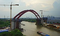 201806 Shangqiu-Hangzhou HSR Tiaoxi Bridge North under Construction.jpg
