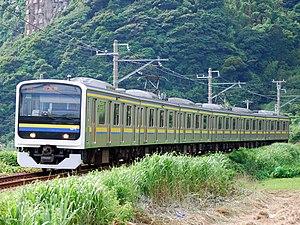"Uchibō Line - A 209 series EMU on a ""Local"" service in July 2010"