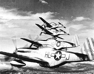 308th Fighter Squadron - 308th FS, May 1944, P-51D-5-NA Mustang 44-13524 in foreground