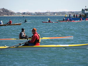 Coastal and offshore rowing - Rowers await the start at the 32nd Annual Snow Row in Hull, Massachusetts.