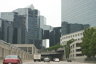 Georgia State Route 400 - Passing through the Atlanta Financial Center in Buckhead on SR 400 southbound
