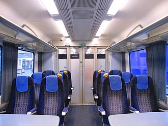 British Rail Class 450 - The interior of First Class cabin from a Class 450/0