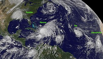 2008 Atlantic hurricane season - From left to right: Tropical Storm Gustav inland over Louisiana, Hurricane Hanna over the Bahamas, and Tropical Storm Ike in the central Atlantic Ocean. Southeast of Ike is Tropical Storm Josephine. Northeast of Ike is a low pressure area.