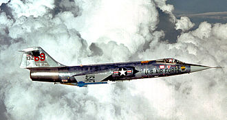 58th Special Operations Wing - 58th Tactical Fighter Training Wing Lockheed F-104G Starfighter (USAF serial number 63-13269) during a training flight on 1 August 1979, armed with two (training) AIM-9J Sidewinder air-to-air-missiles.
