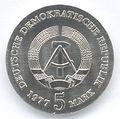 5 Mark DDR 1977 - 125. Todestag von Friedrich Ludwig Jahn - Wertseite.JPG