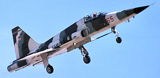 """65th Aggressor Squadron - 65th Aggressor Squadron F-5E Tiger II """"Aggressors"""" aircraft, about 1980"""