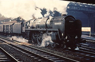 BR Standard Class 7 - 70045 Lord Rowallan with LMS-style buffers.