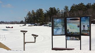 Voyageurs National Park - Frozen Rainy Lake covered by snow in early spring
