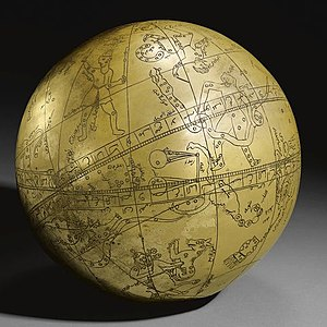 Astronomy in the medieval Islamic world - A Large Persian Brass Celestial Globe with an ascription to Hadi Isfahani and a date of 1197 AH/ 1782-3 AD of typical spherical form, the globe engraved with markings, figures and astrological symbols, inscriptive details throughout