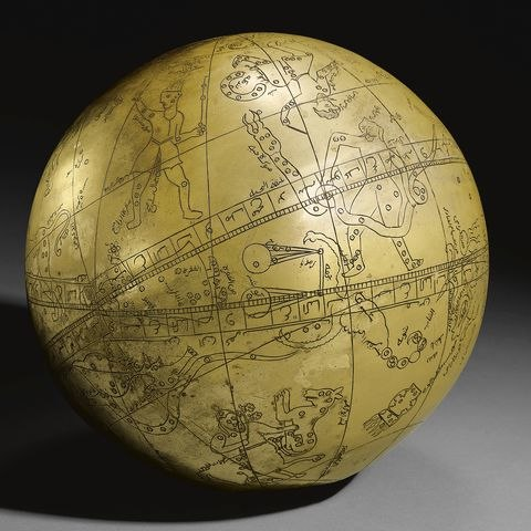 A Large Persian Brass Celestial Globe with an ascription to Hadi Isfahani