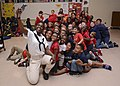 A Sailor takes a selfie with students from Lincoln Elementary Magnet School during Navy Week Tampa. (41384346024).jpg