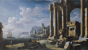 Leonardo Coccorante - Image: A capriccio of architectural ruins with a seascape beyond, oil on canvas painting by Leonardo Coccorante
