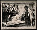 A doctor asking a patient's wife if she has taken his temper Wellcome V0011484.jpg