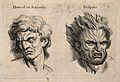 A face expressing hatred or jealousy (left); a face with hai Wellcome V0009327.jpg