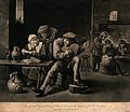 A man plays on a musical instrument as others sit around at Wellcome V0040105.jpg