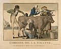 A physician inspects the growth of cowpox on a milking maid' Wellcome V0011690.jpg
